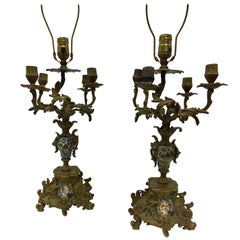 Pair of 19th Century Napolean iii Bronze & Champleve  Candelabra Lamps