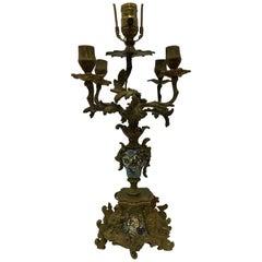 Late 19th Century Napolean III Champleve Bronze Candelabra Lamp