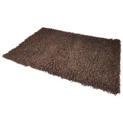 Large High Pile German Brown 100% Wool 1970s Carpet by Desso