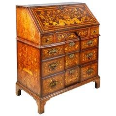 18th Century Dutch Marquetry Walnut Bureau
