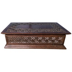 Large Heavily Carved Oak Coffee Table or Dresser Box, Gift for Men