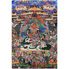 Tibetan Thangka Painting Dorje Drolo, Lapis Background Thanka