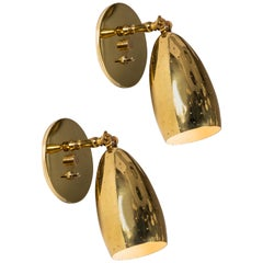 Pair of 1950s Mauri Almari Perforated Brass Sconces for Itsu