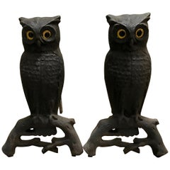 Cast Iron Owl Andirons with Glass Eyes, circa 1900