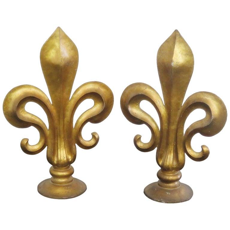Pair Of Antique Italian Fleur De Lis Sculptures For