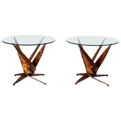 Exceptional Pair of Brutalist Side Tables by Silas Seandel