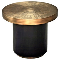 Small Round Coffee Table by Belgali Acid Etched Brass