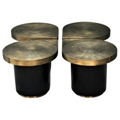 Four Matching Coffee Tables, Teardrops, Patinated Acid Etched Brass