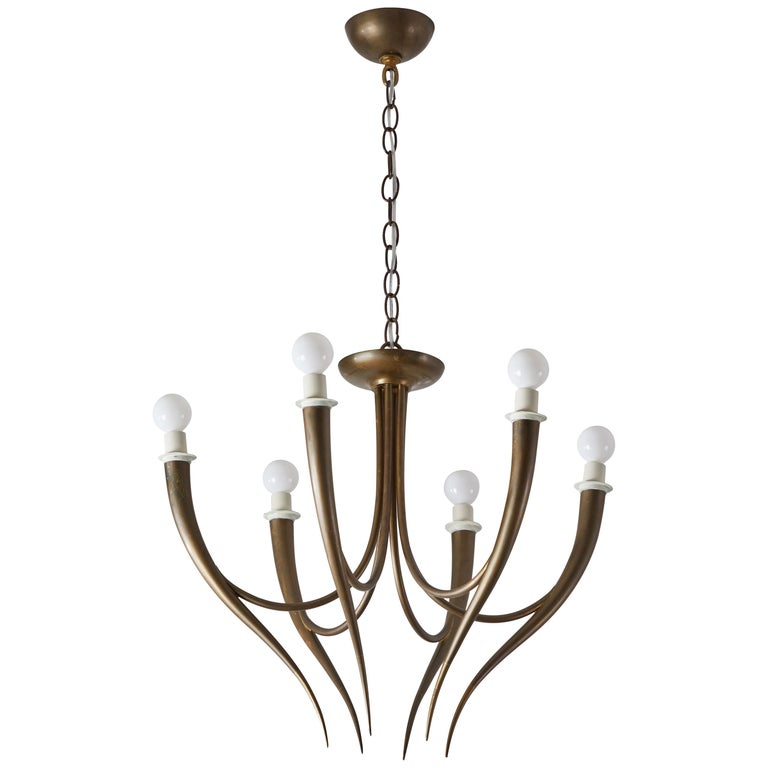 Italian Chandelier in the Style of Gio Ponti
