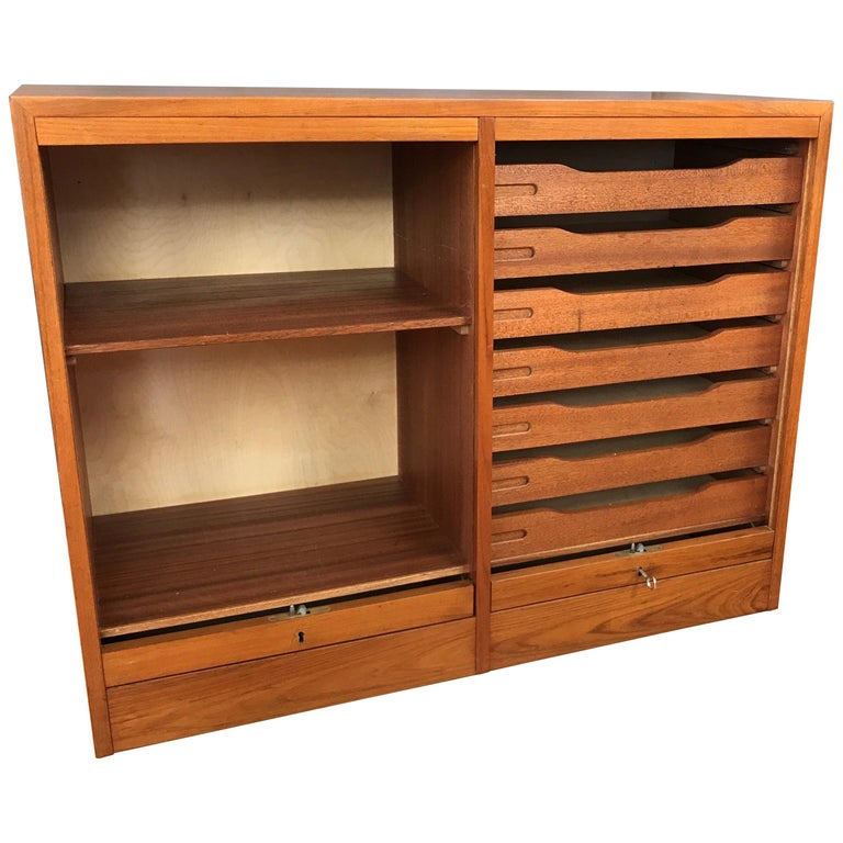 Vintage Danish Tambour Door Dual Compartment Teak File Cabinet (a)