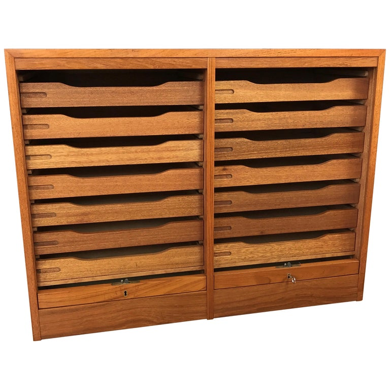Vintage Danish Tambour Door Dual Compartment Teak File Cabinet (B)