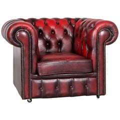 Chesterfield Leather Armchair Red Vintage
