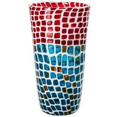 Venini Ravenna Festival Vase in Milk-White, Red & Aquamarine Glass