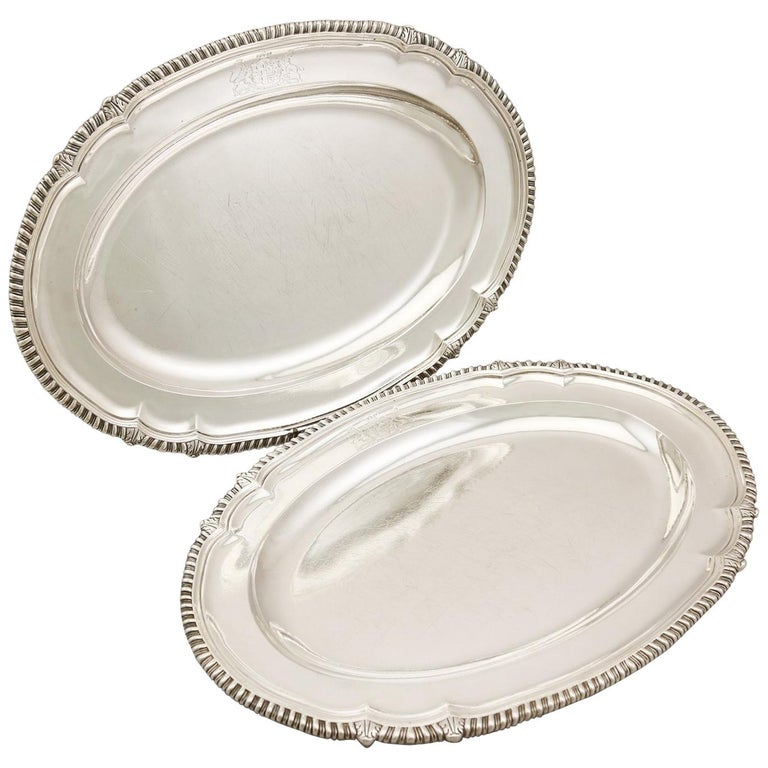 Georgian Pair of Sterling Silver Meat Platters
