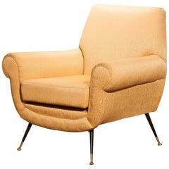 1950s, Gigi Radice for Minotti Easy Chair in Golden Jacquard and Slim Brass Legs