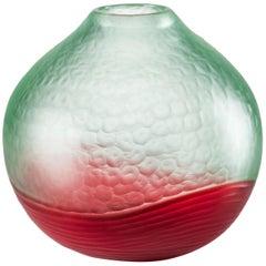 Venini Battuto Multicolor Vase in Light Green & Red by Carlo Scarpa