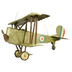 Huge Royal Air Force Biplane Tin Model WW 1 Sopwith Snipe Aviation, 1920s