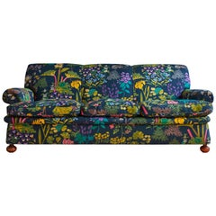 Josef Frank Three-Seat Sofa, New Upholstered in Linen Textile, 1940s