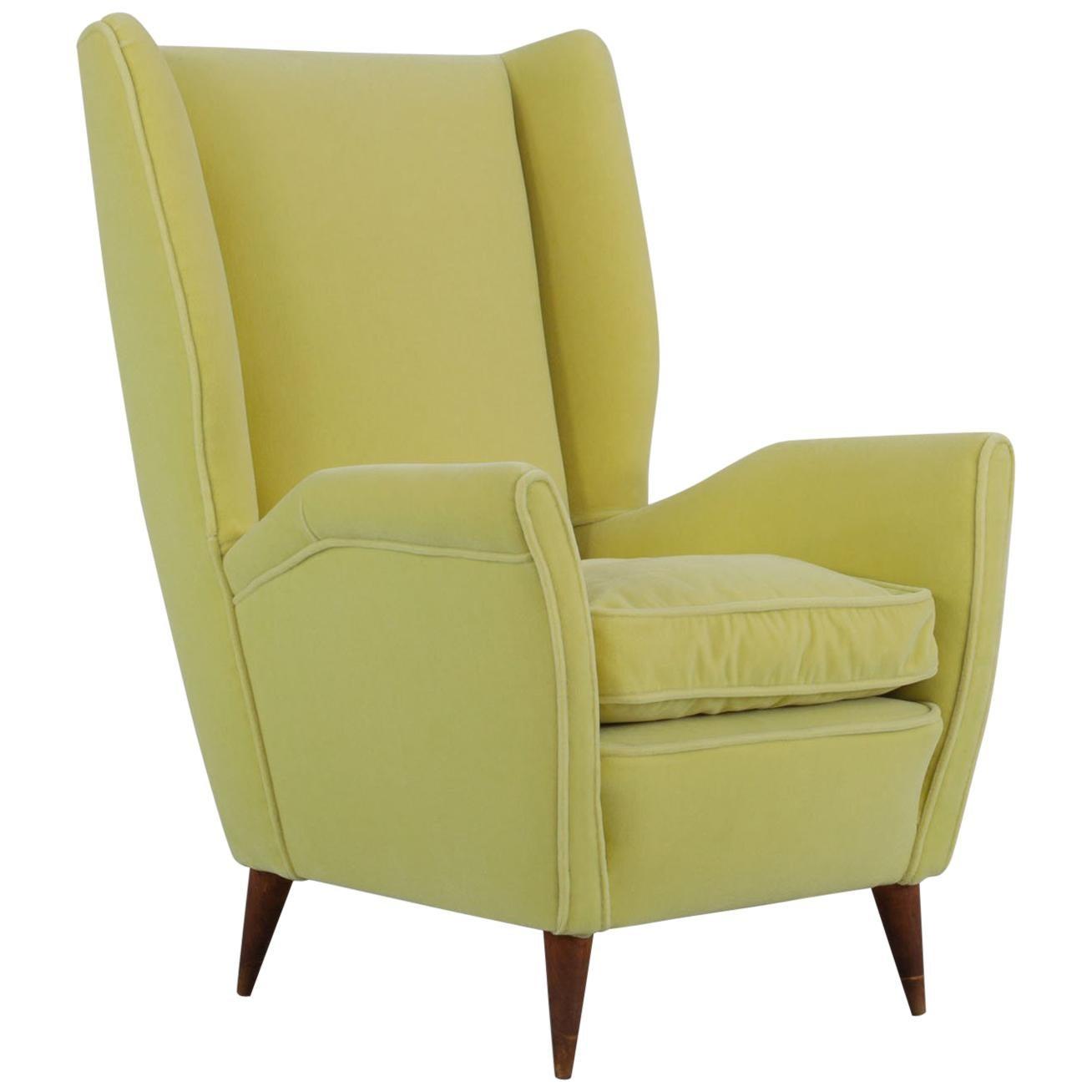 Italian Yellow Wingback Chair, Produced by I.S.A. Bergamo, 1950s
