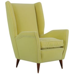 Italian Yellow Wingback Chair, Produced by I.S.A. Bergamo, 1950s