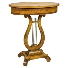 Biedermeier Sewing Table Veneered with Birch