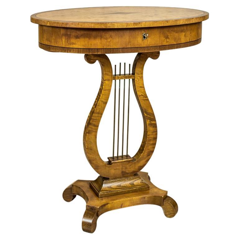 Biedermeier Sewing Table Veneered with Birch For Sale