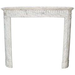 19th Century Louis XVI Style Fireplace in White Carrara Marble