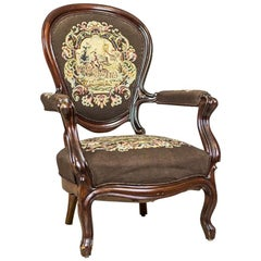 19th Century Louis Philippe Mahogany Armchair Upholstered with a Tapestry