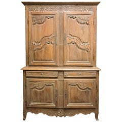 19th Century Carved and Stucco Fruit Wood French Provenzal Cupboard