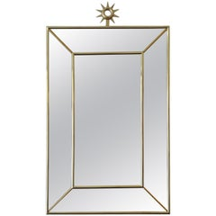 Pair of Large Brass Mirrors, Italy, 1980