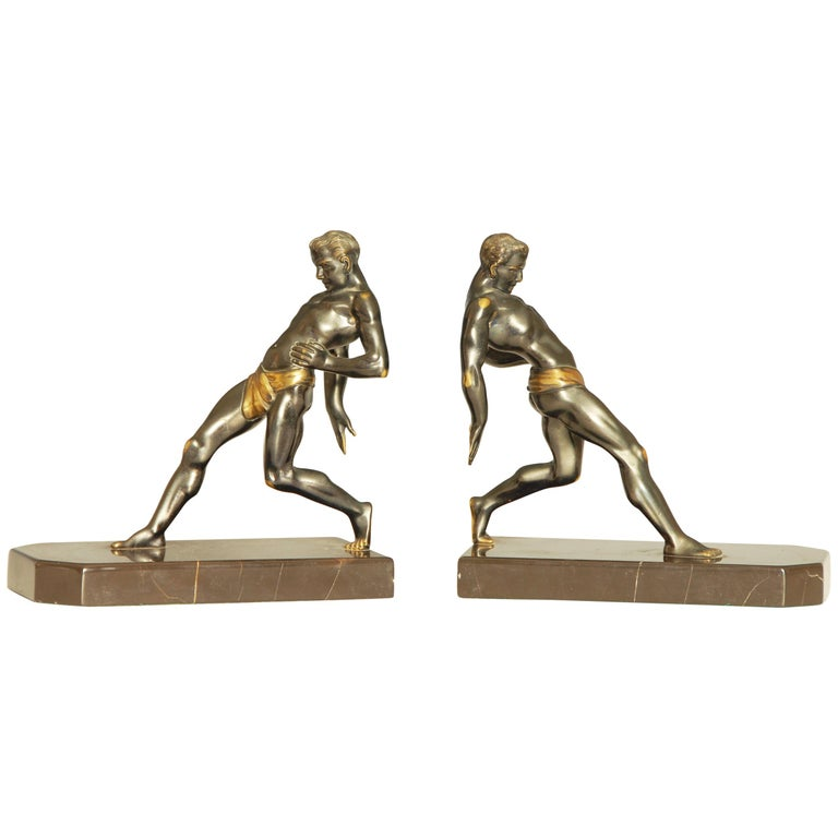 Art Deco Bronze Olypian Arthlete Bookends