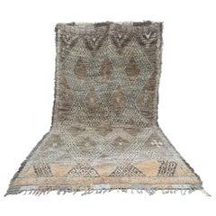 Brown Moroccan Rug, Wool Berber Carpet, Natural Dye, Beni Mguild, Late 1970s