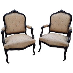 19th Century Italian Pair of Ebonized Armchairs with Original Fabric, 1890s
