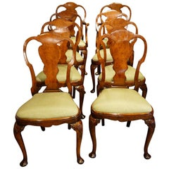 Set of 8 Edwardian Walnut Dining Chairs