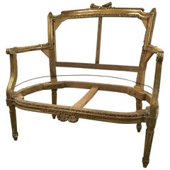 19th Century French Settee Frame with Original Gilt Ready for Reupholstering
