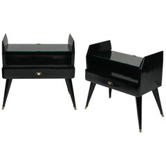 Pair Of Stylish Lacquered Nightstands