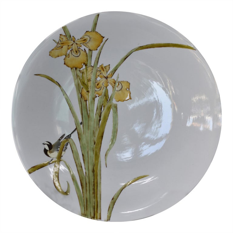 Large Contemporary Yellow Kutani Porcelain Charger by Japanese Master Artist