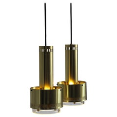 1960s Kay Kørbing Danish Brass and Glass Pendant Lamps for Lyfa