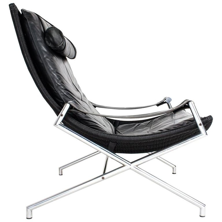 Brutalist Leather Lounge Chair by Gerard Van Den Berg, 1980s Dutch Design