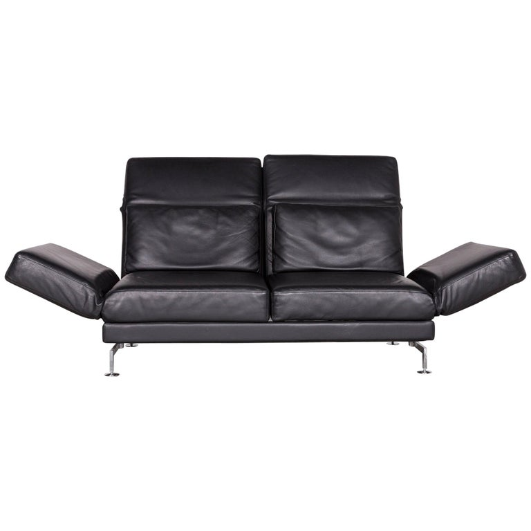 Brühl & Sippold Moule Designer Leather Sofa Black Two-Seat Couch with Function