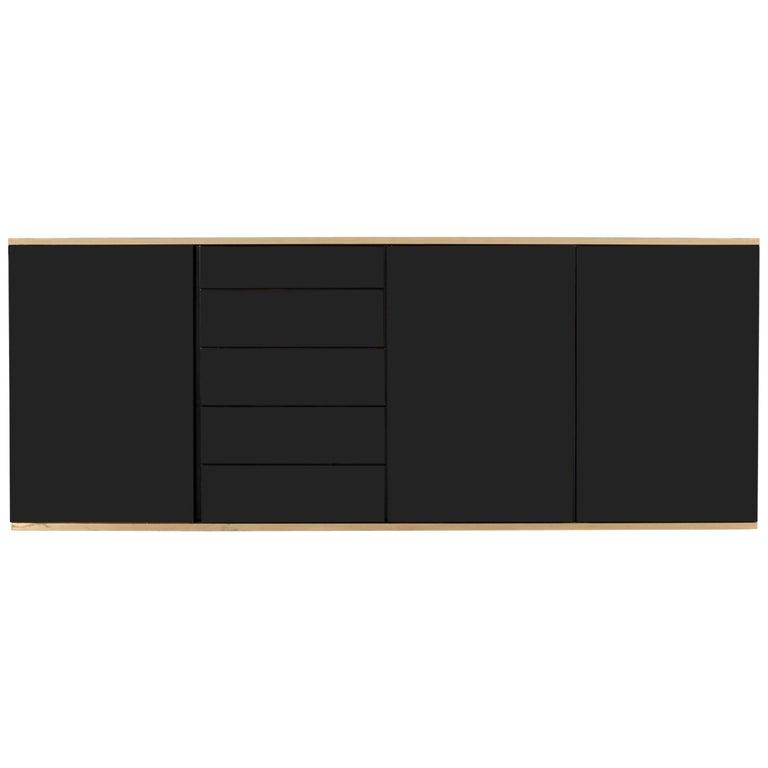 Roche Bobois Black and Brass Lacquered Credenza