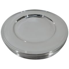 Set of 8 American Modern Sterling Silver Bread and Butter Plates