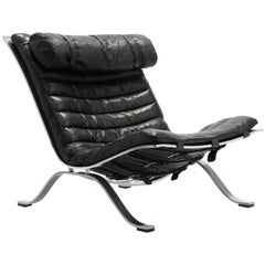 Black Leather Ari Lounge Chair by Arne Norell, Sweden, 1966