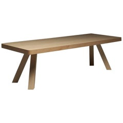 Elegance Wood Table in Natural Maple Wood with Slanted Legs by Aldo Cibic