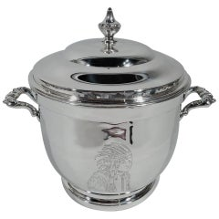 American Mid-Century Modern Sterling Silver Indian Chief Ice Bucket