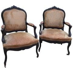 19th Century Pair of Italian Ebonized Wood Armchairs with Original Fabric, 1890s