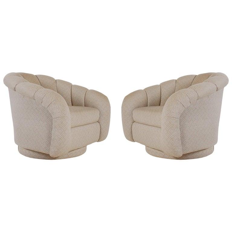 Mid-Century Modern Swivel Lounge Chairs after Milo Baughman