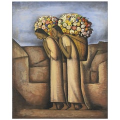 Vendedores de Flores, after Spanish Colonial Oil Painting by Alfredo Martínez