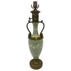Louis XV French Celadon Green Porcelain and White Green Porcelain Table Lamp