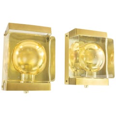 Pair of Maritim Glass and Brass Wall Lamps by Vitrika, 1970s